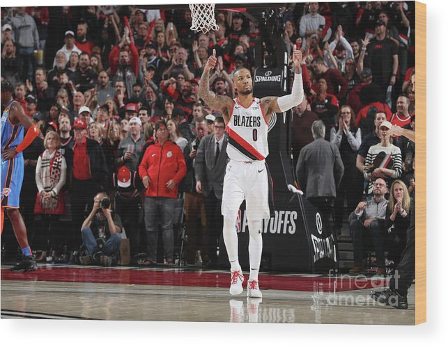 Playoffs Wood Print featuring the photograph Damian Lillard by Zach Beeker