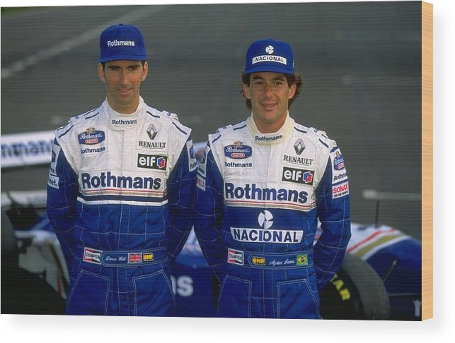 Driver Wood Print featuring the photograph Damon Hill and Ayrton Senna by Mike Hewitt