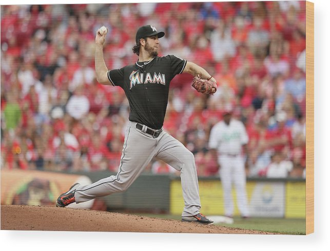 Great American Ball Park Wood Print featuring the photograph Dan Haren by Andy Lyons