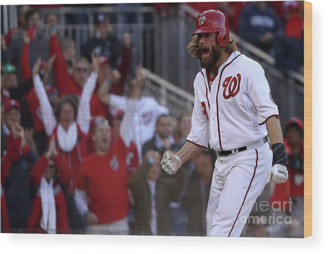 Game Two Wood Print featuring the photograph Daniel Murphy and Jayson Werth by Patrick Smith