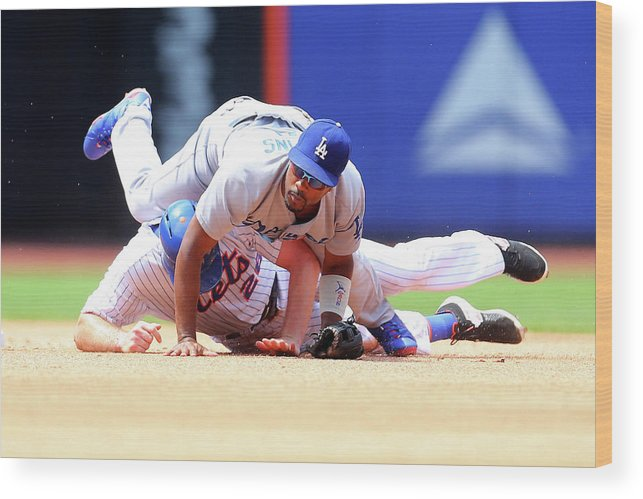 Double Play Wood Print featuring the photograph Daniel Murphy and Jimmy Rollins by Mike Stobe
