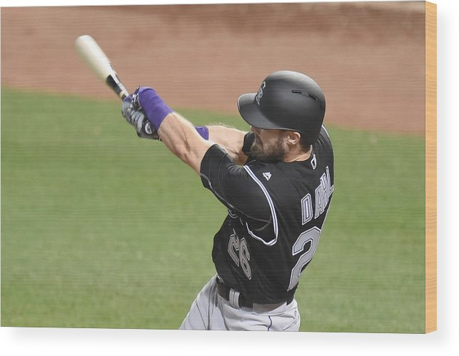 American League Baseball Wood Print featuring the photograph David Dahl by Mitchell Layton