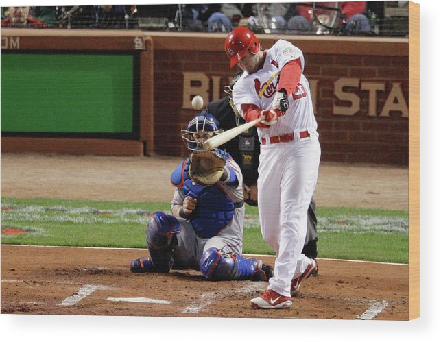 St. Louis Cardinals Wood Print featuring the photograph David Freese by Rob Carr