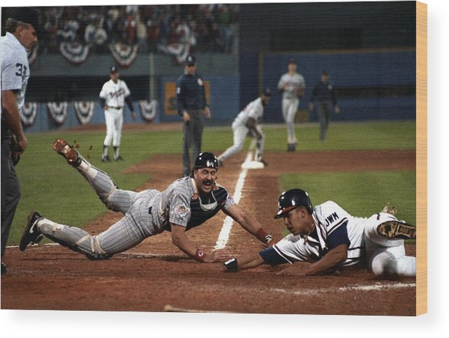 Atlanta Wood Print featuring the photograph David Justice by Ronald C. Modra/sports Imagery