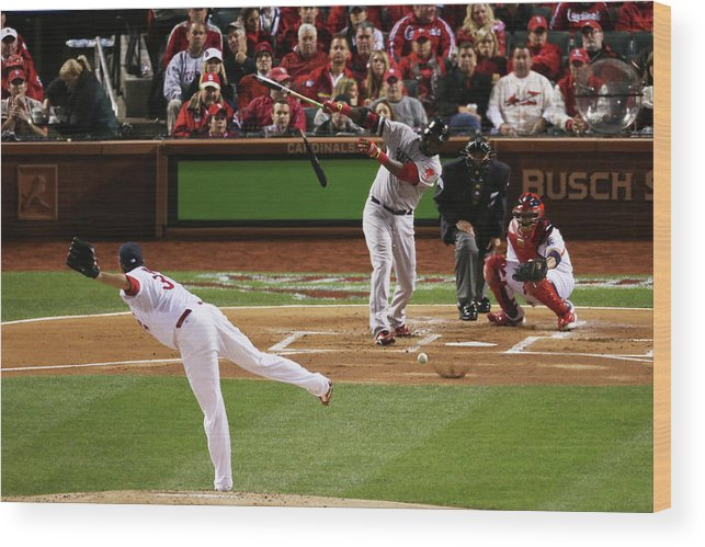 Second Inning Wood Print featuring the photograph David Ortiz and Lance Lynn by Rob Carr