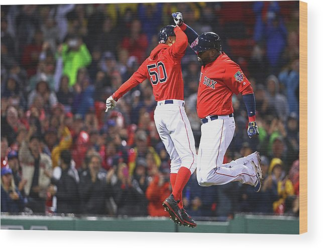 American League Baseball Wood Print featuring the photograph David Ortiz and Mookie Betts by Maddie Meyer