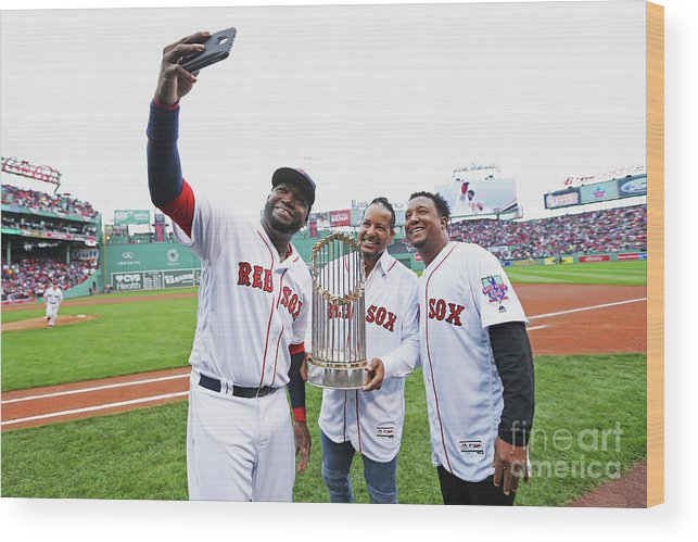 American League Baseball Wood Print featuring the photograph David Ortiz and Pedro Martinez by Maddie Meyer
