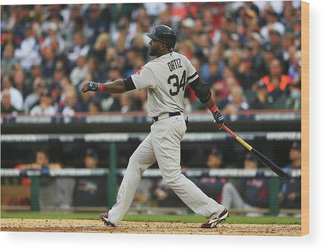 American League Baseball Wood Print featuring the photograph David Ortiz by Mike Ehrmann