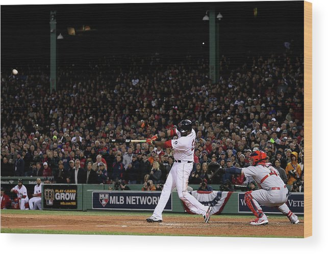 Game Two Wood Print featuring the photograph David Ortiz by Rob Carr