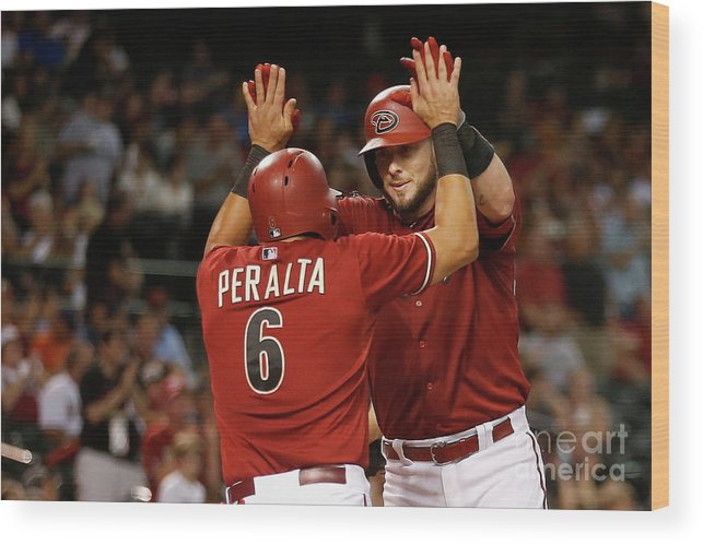 People Wood Print featuring the photograph David Peralta and Jarrod Saltalamacchia by Christian Petersen
