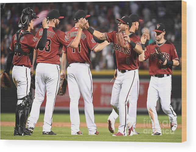 People Wood Print featuring the photograph David Peralta, Paul Goldschmidt, and Chris Owings by Jennifer Stewart