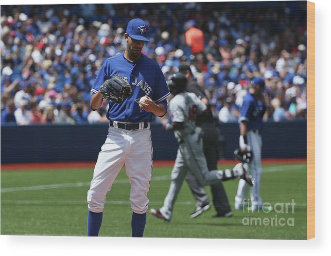 David Price Wood Print featuring the photograph David Price and Torii Hunter by Tom Szczerbowski