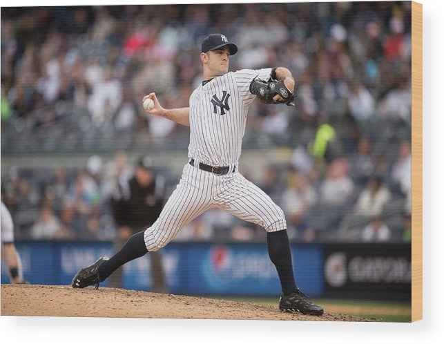 American League Baseball Wood Print featuring the photograph David Robertson by Rob Tringali
