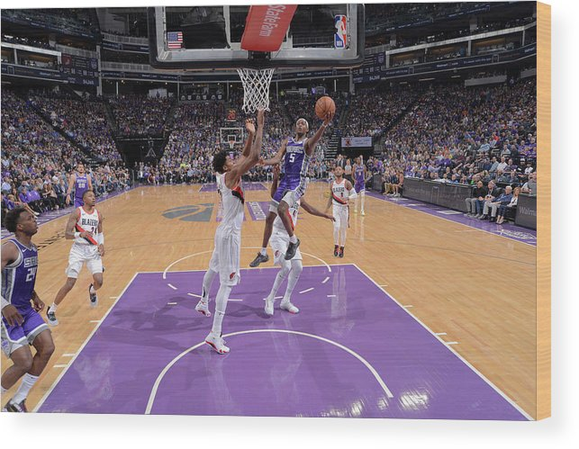 Nba Pro Basketball Wood Print featuring the photograph De'aaron Fox and Hassan Whiteside by Rocky Widner
