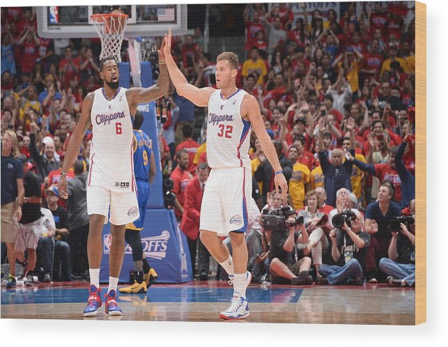 Playoffs Wood Print featuring the photograph Deandre Jordan and Blake Griffin by Andrew D. Bernstein