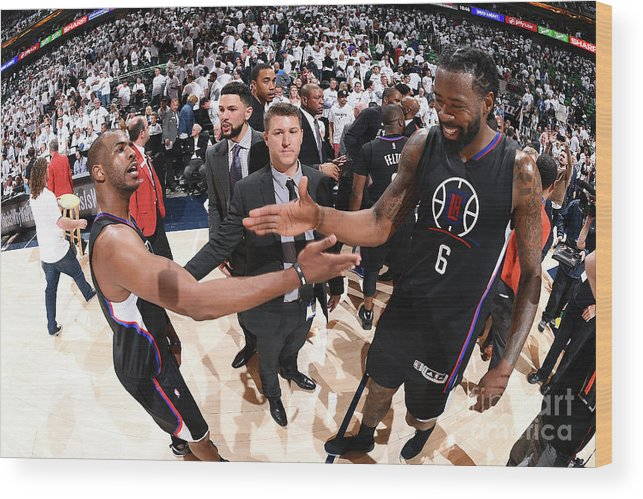 Playoffs Wood Print featuring the photograph Deandre Jordan and Chris Paul by Andrew D. Bernstein