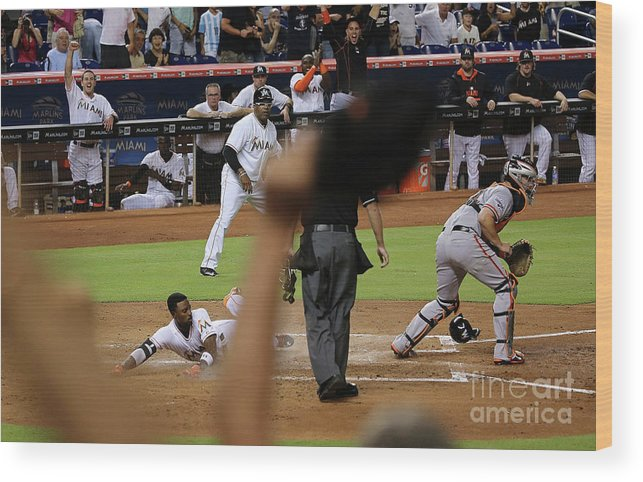 People Wood Print featuring the photograph Dee Gordon and Andrew Susac by Mike Ehrmann