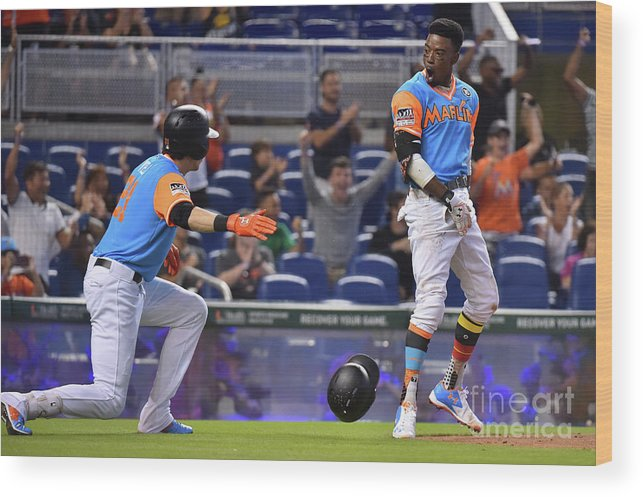 People Wood Print featuring the photograph Dee Gordon and Christian Yelich by Eric Espada