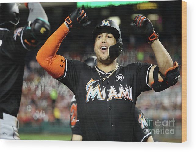 People Wood Print featuring the photograph Dee Gordon and Giancarlo Stanton by Rob Carr