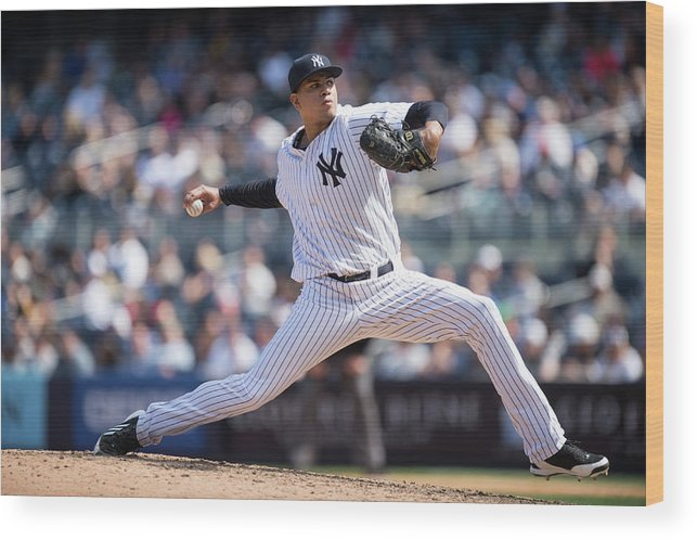 American League Baseball Wood Print featuring the photograph Dellin Betances by Rob Tringali