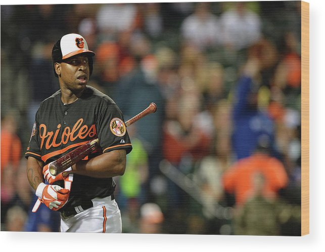 American League Baseball Wood Print featuring the photograph Delmon Young by Patrick Smith