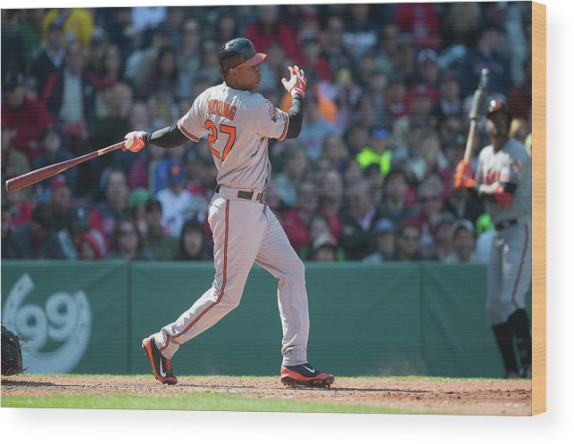 East Wood Print featuring the photograph Delmon Young by Rob Tringali