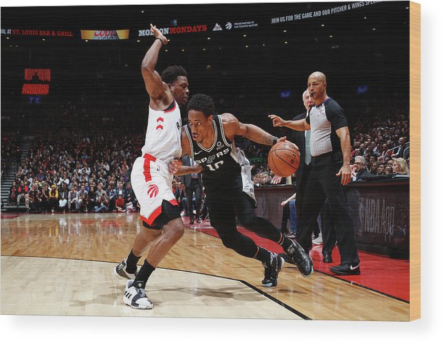 Nba Pro Basketball Wood Print featuring the photograph Demar Derozan and Kyle Lowry by Mark Blinch