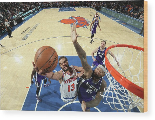 Nba Pro Basketball Wood Print featuring the photograph Demarcus Cousins and Joakim Noah by Nathaniel S. Butler