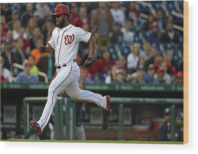 American League Baseball Wood Print featuring the photograph Denard Span and Anthony Rendon by Patrick Smith