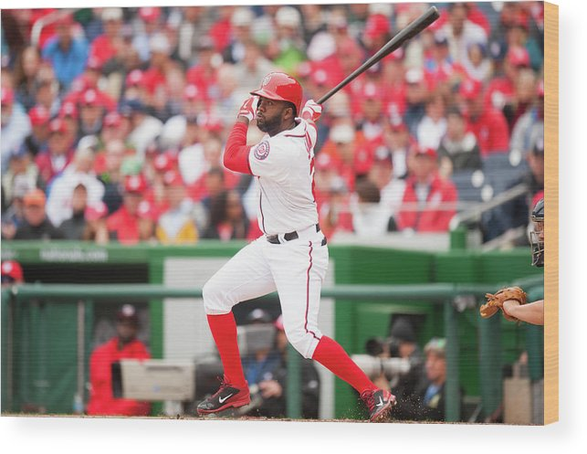 National League Baseball Wood Print featuring the photograph Denard Span by Mitchell Layton