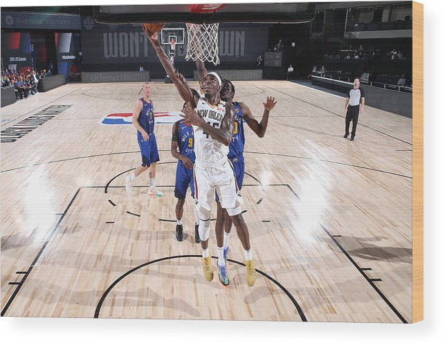 Nba Pro Basketball Wood Print featuring the photograph Denver Nuggets v New Orleans Pelicans by Joe Murphy