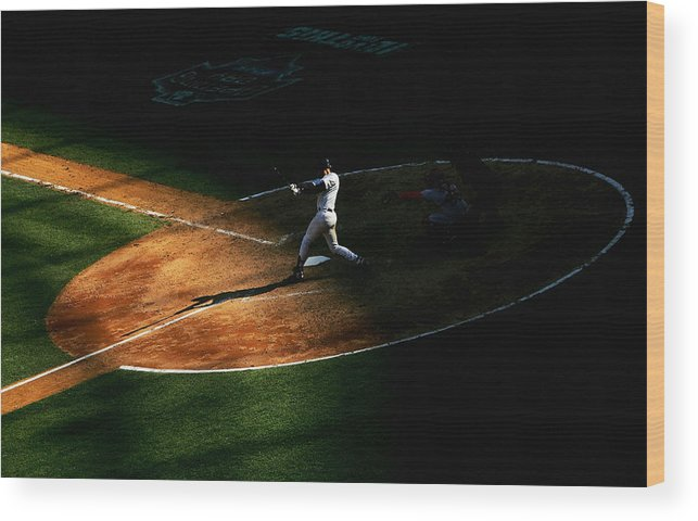 People Wood Print featuring the photograph Derek Jeter by Ezra Shaw