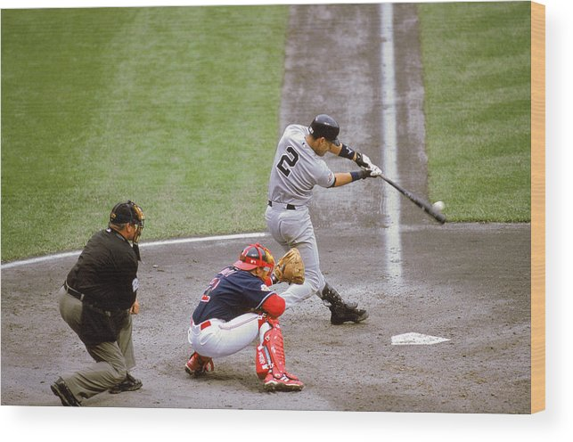 People Wood Print featuring the photograph Derek Jeter by John Reid Iii