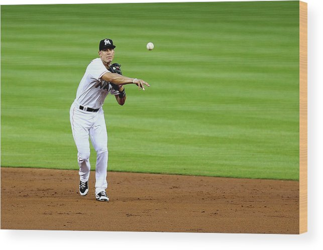 American League Baseball Wood Print featuring the photograph Derek Parks by Alex Trautwig