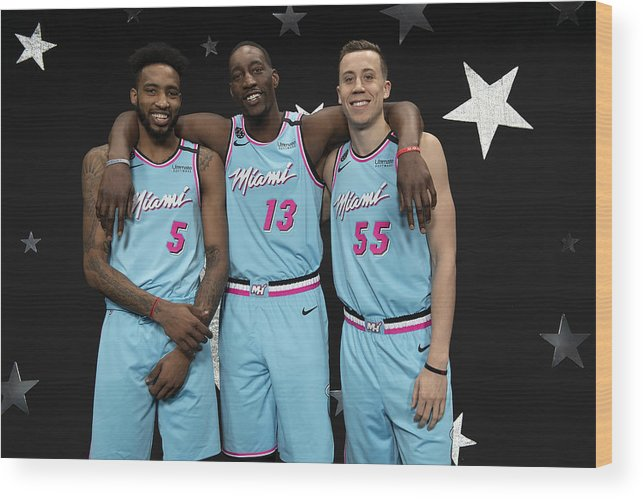 Nba Pro Basketball Wood Print featuring the photograph Derrick Jones and Bam Adebayo by Jesse D. Garrabrant