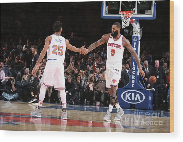 Nba Pro Basketball Wood Print featuring the photograph Derrick Rose and Kyle O'quinn by Nathaniel S. Butler