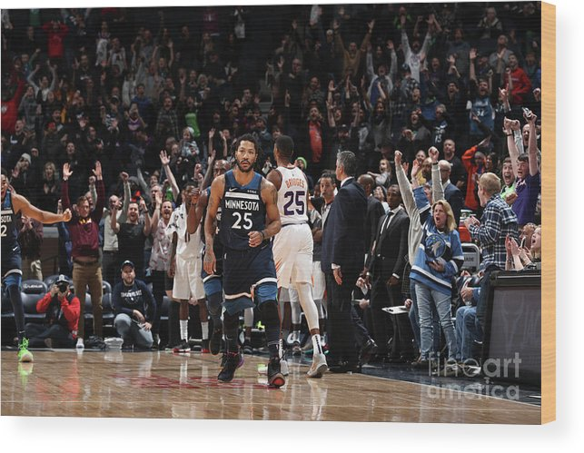 Nba Pro Basketball Wood Print featuring the photograph Derrick Rose by Jordan Johnson
