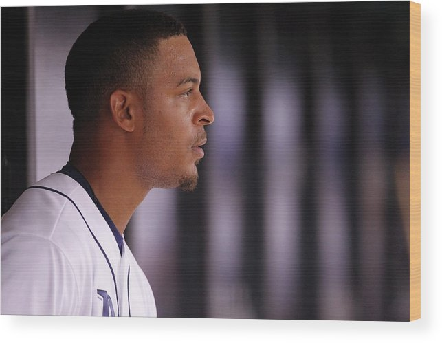 American League Baseball Wood Print featuring the photograph Desmond Jennings by Brian Blanco