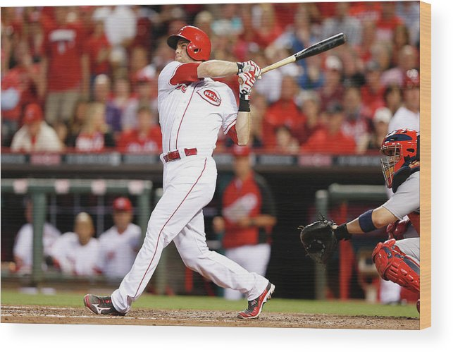 Great American Ball Park Wood Print featuring the photograph Devin Mesoraco by Joe Robbins