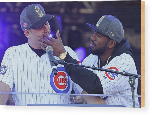 Crowd Wood Print featuring the photograph Dexter Fowler and Anthony Rizzo by Jonathan Daniel