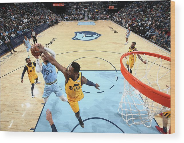 Nba Pro Basketball Wood Print featuring the photograph Dillon Brooks and Jeff Green by Joe Murphy