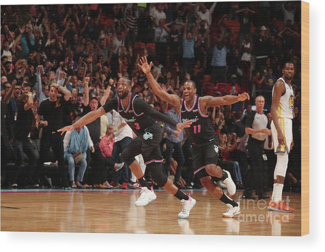Nba Pro Basketball Wood Print featuring the photograph Dion Waiters and Dwyane Wade by Issac Baldizon
