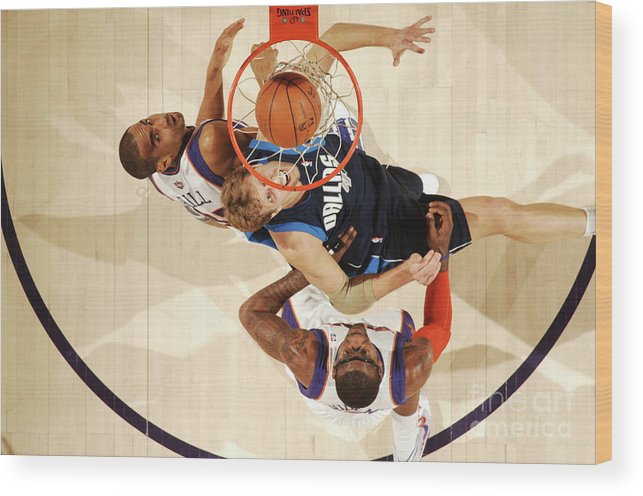 Nba Pro Basketball Wood Print featuring the photograph Dirk Nowitzki, Grant Hill, and Amar'e Stoudemire by Barry Gossage
