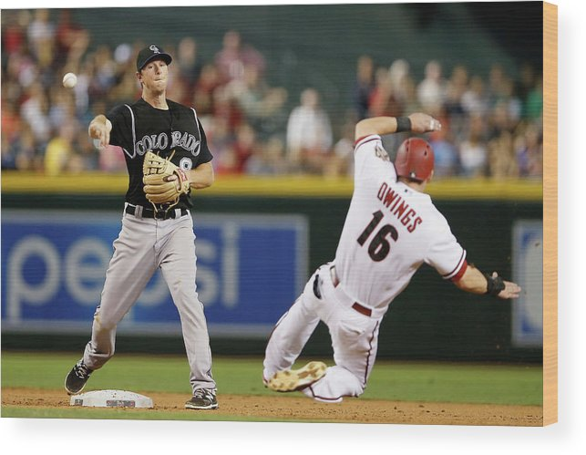 Double Play Wood Print featuring the photograph Dj Lemahieu and Chris Owings by Christian Petersen