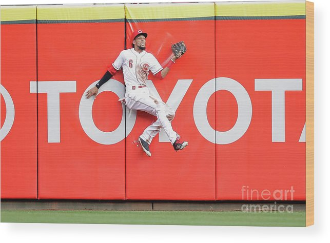 Great American Ball Park Wood Print featuring the photograph Domingo Santana, Ryan Braun, and Billy Hamilton by Andy Lyons