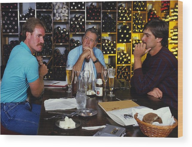 1980-1989 Wood Print featuring the photograph Don Mattingly, Ted Williams, and Wade Boggs by Ronald C. Modra/sports Imagery