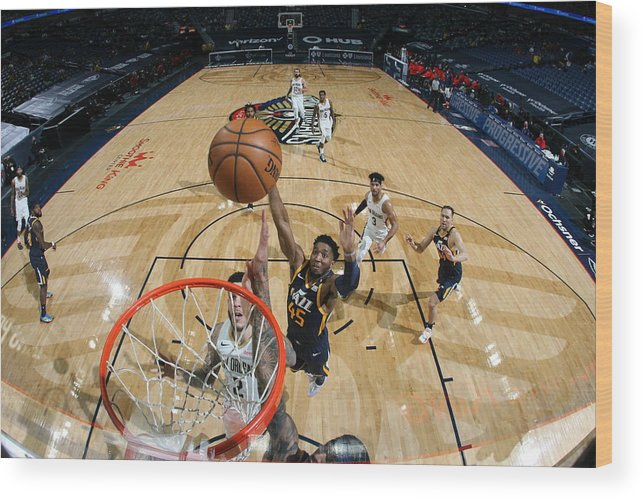 Smoothie King Center Wood Print featuring the photograph Donovan Mitchell by Layne Murdoch Jr.