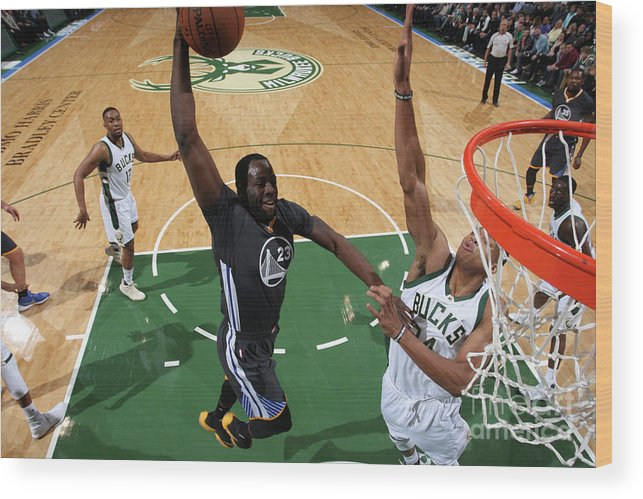 Nba Pro Basketball Wood Print featuring the photograph Draymond Green and Giannis Antetokounmpo by Gary Dineen