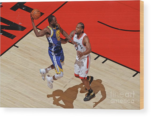 Playoffs Wood Print featuring the photograph Draymond Green and Kawhi Leonard by Mark Blinch