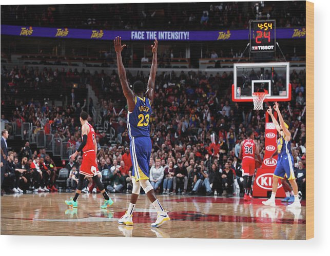 Nba Pro Basketball Wood Print featuring the photograph Draymond Green and Klay Thompson by Jeff Haynes